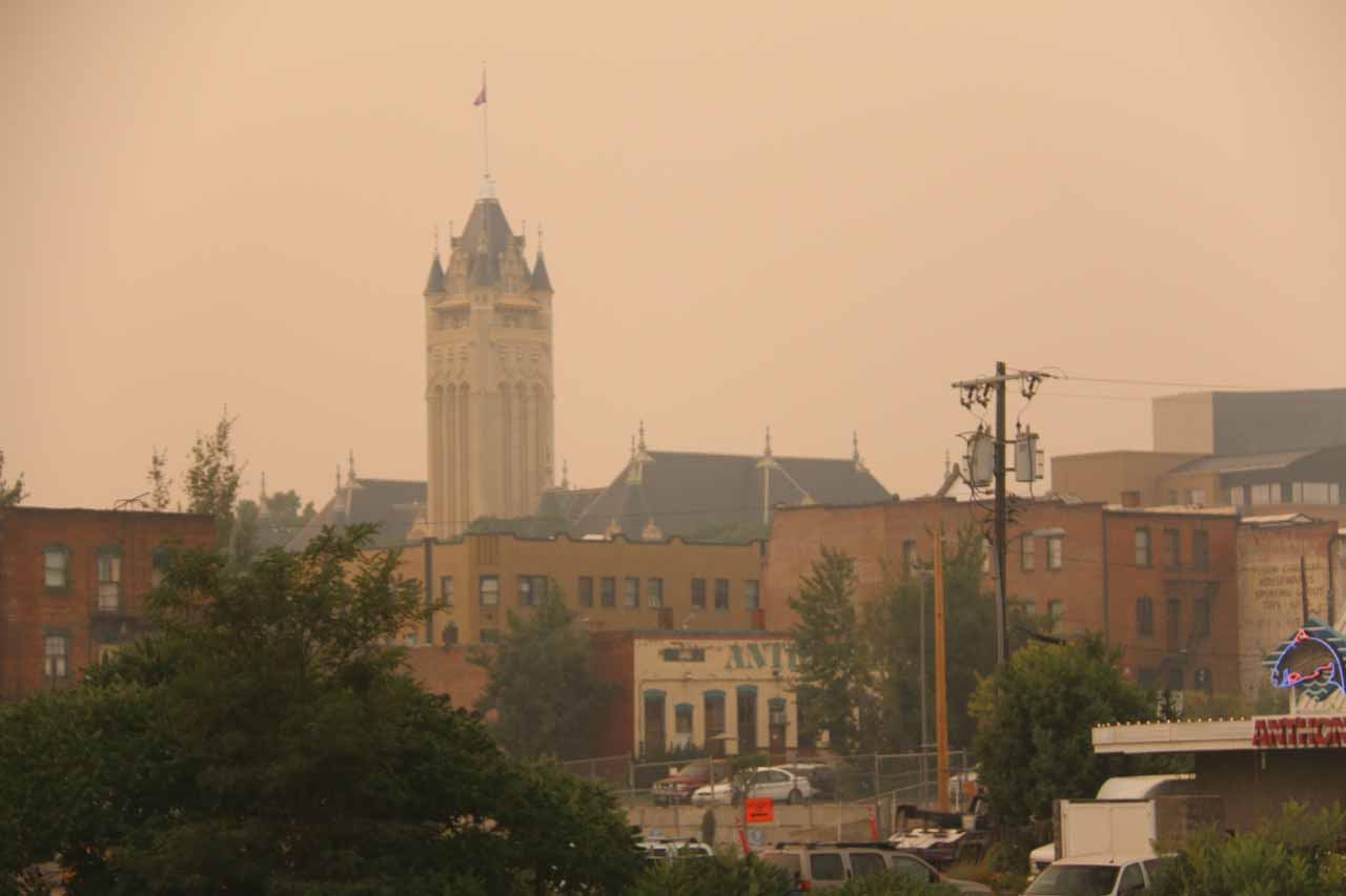 From the North Post Street Bridge, I noticed this interesting-looking tower amidst the smoke looking further to the north of the city