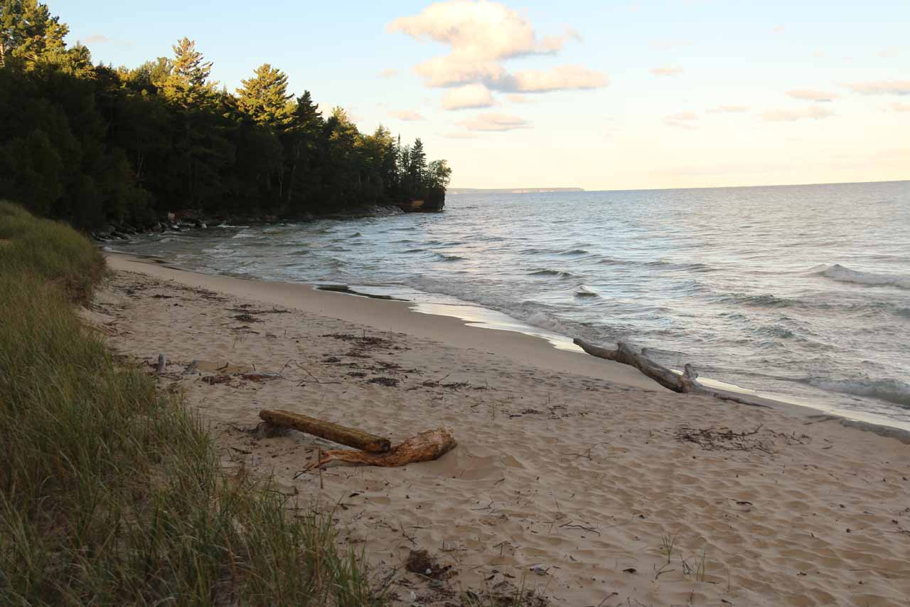 Beach on Lake Superior accessed from the NCT