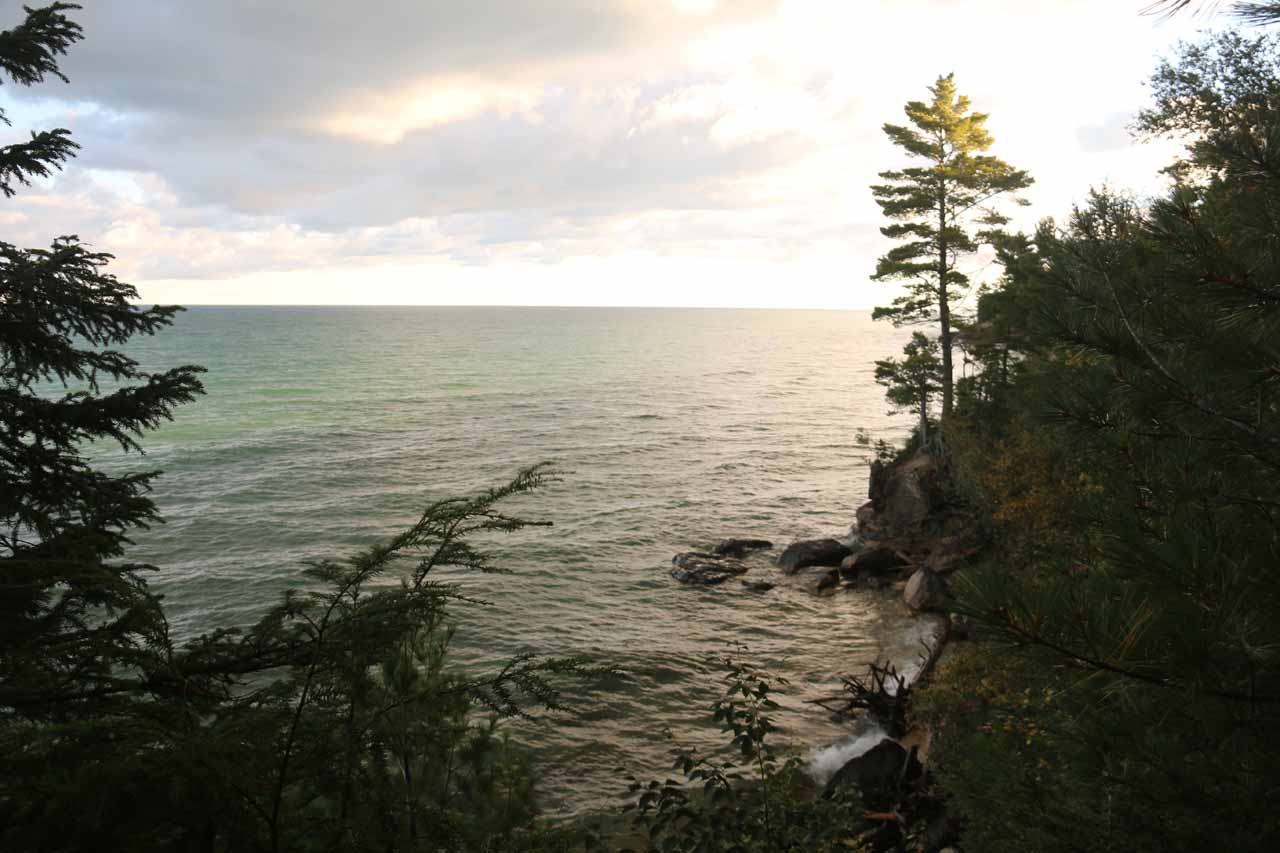 Looking back along the Lake Superior coastline as the sun was starting to come up