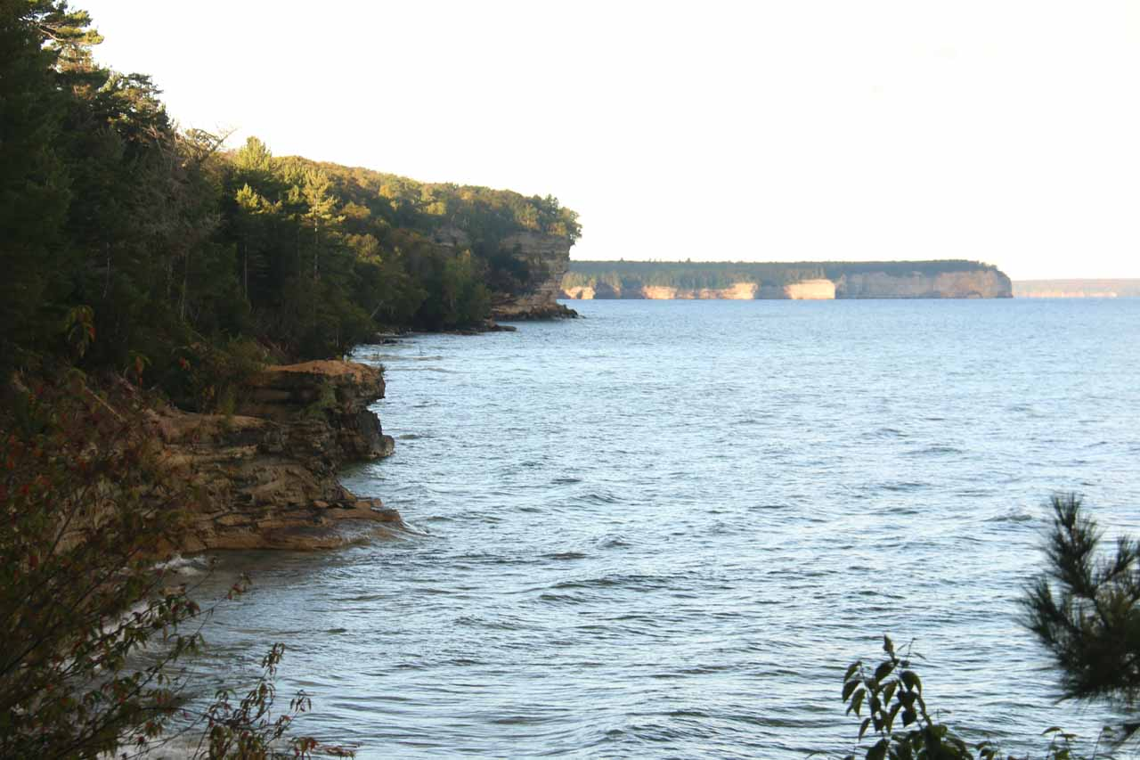 Glimpse of the Pictured Rocks cliffs along the NCT