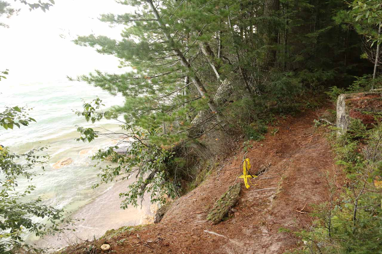 To illustrate the constant erosion that takes place, this part of the trail was eroding into Lake Superior