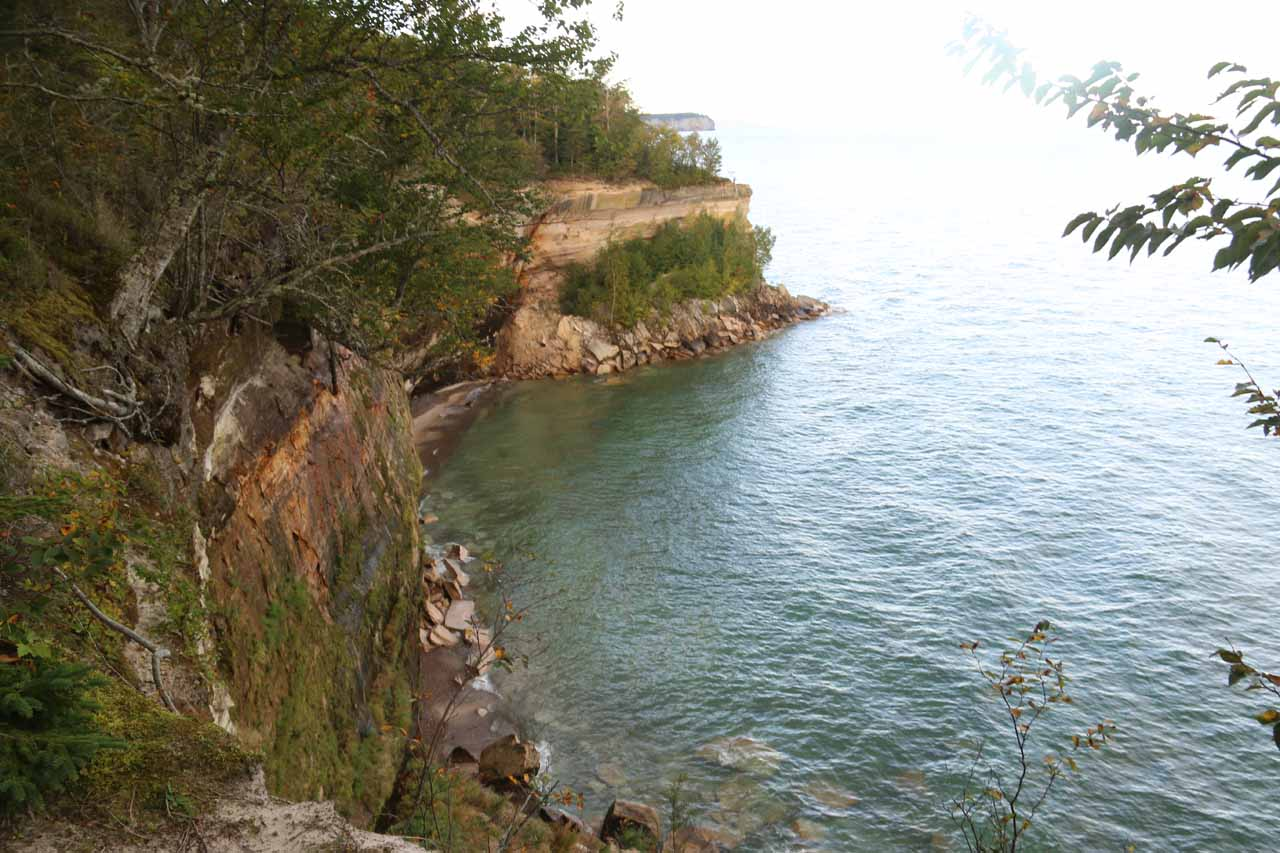 This opening in the trail revealed just how vertical the cliffs of the Pictured Rocks Lakeshore were