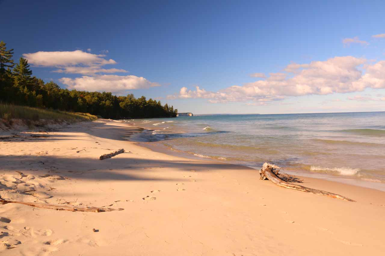 One of the attractive beaches on Lake Superior's shorelines accessible from the North County Trail along the out-and-back hike to Spray Falls