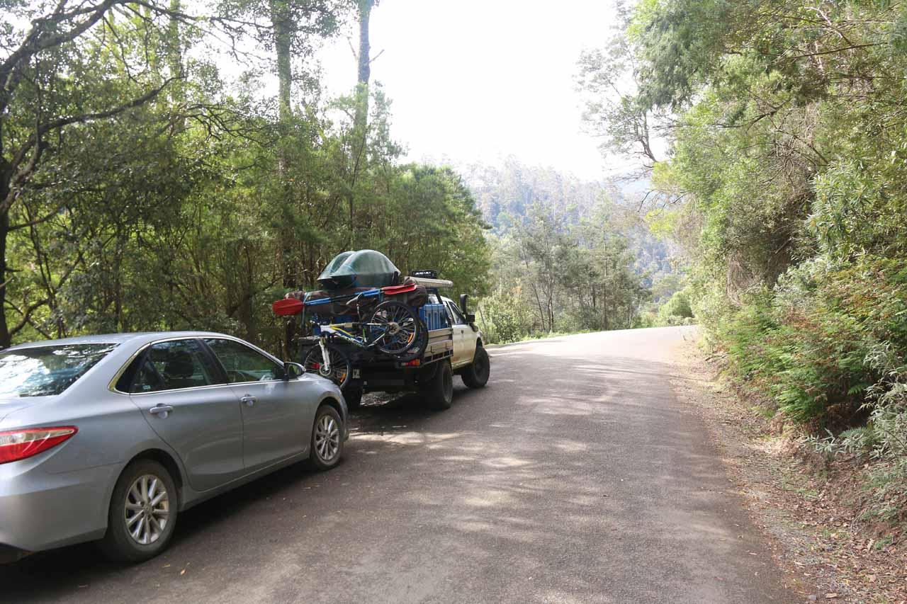 Parking alongside the St Columba Falls Road