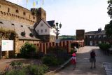 St_Goar_004_06162018 - Julie and Tahia going past some private car park and castle hotel area at Burg Rheinfels in St Goar