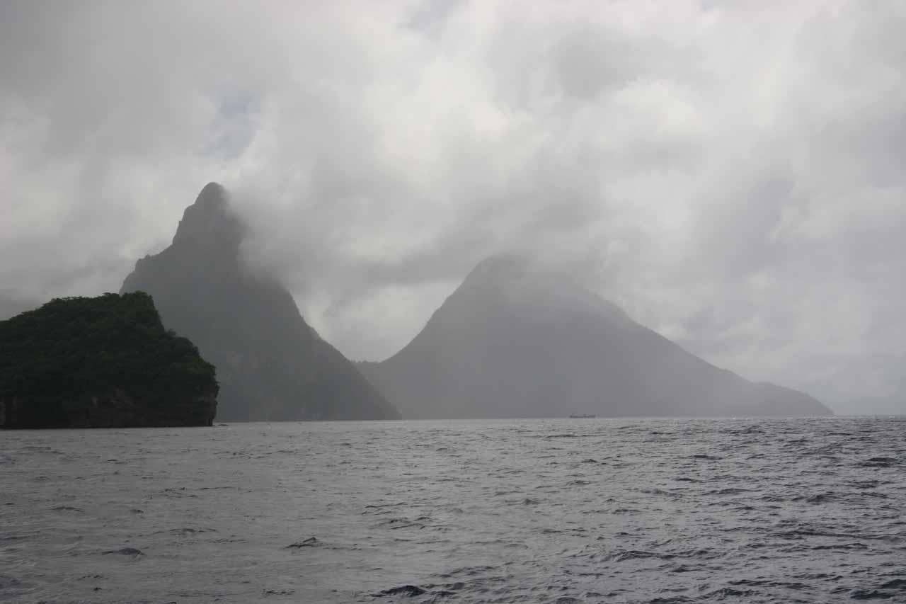 Looking towards the Pitons in rainy weather