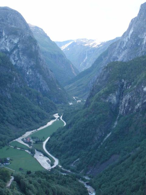 Stalheimskleiva_003_jx_06272005 - Not far to the northeast of Tvindefossen is the Stalheim Hotel and the serpentine road known as the Stalheimskleiva, which looks right into the steep Nærøydalen Valley shown here