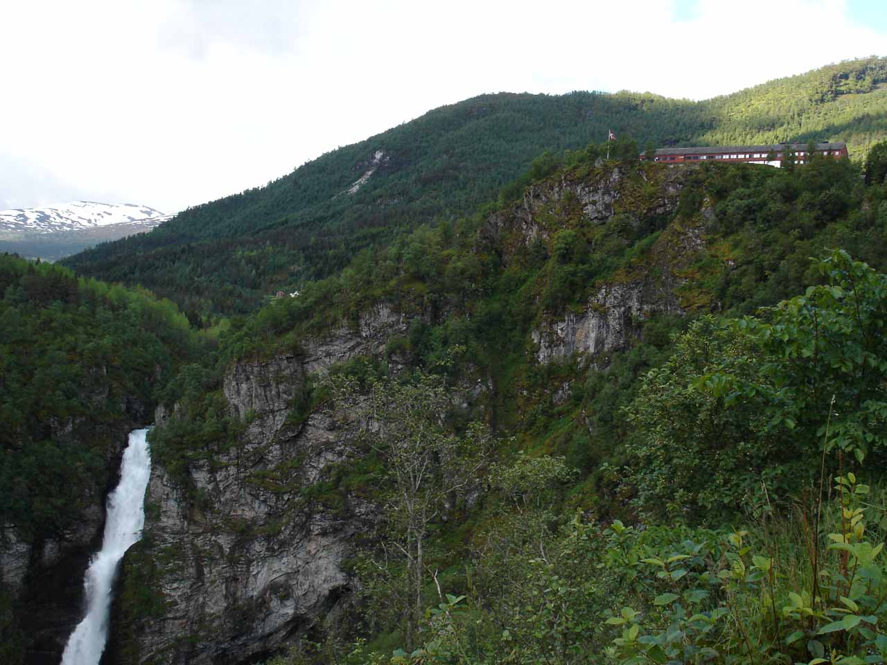 Looking back at Stalheimsfossen and the Stalheim Hotel