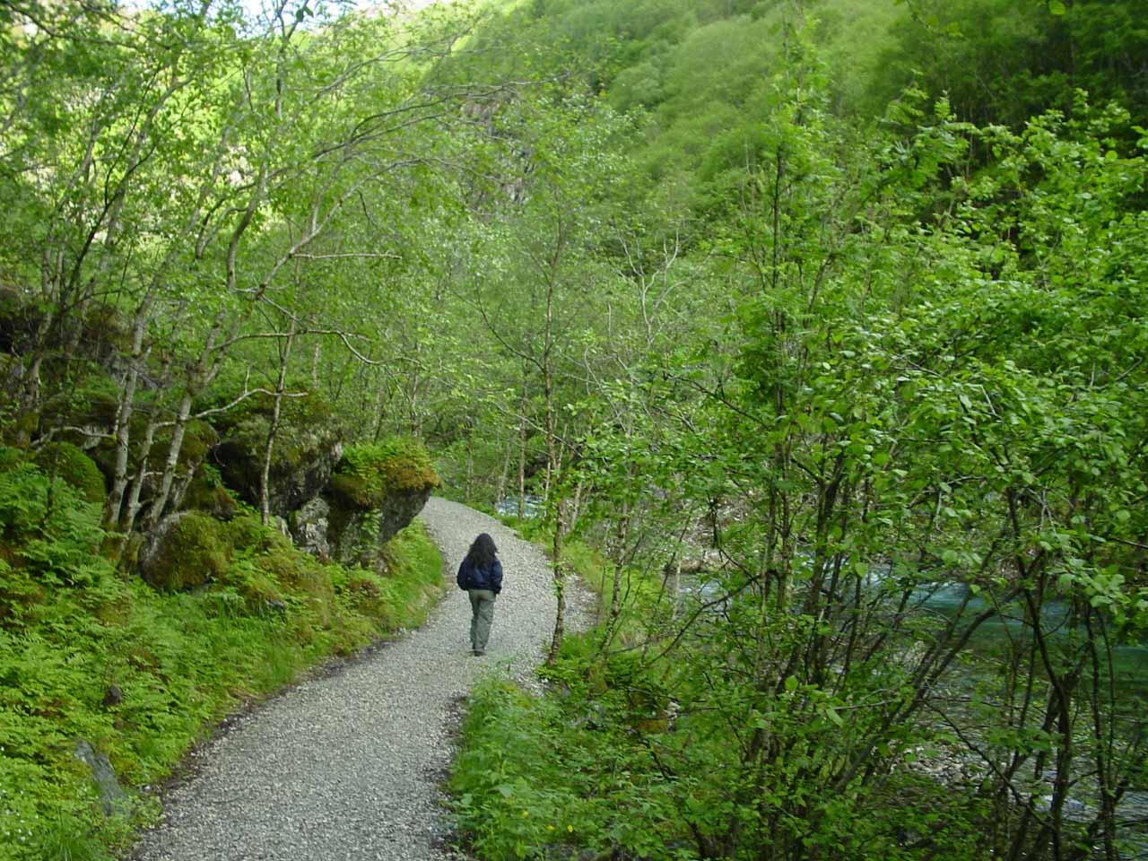 Julie on the well-developed walk to the base of Stalheimsfossen