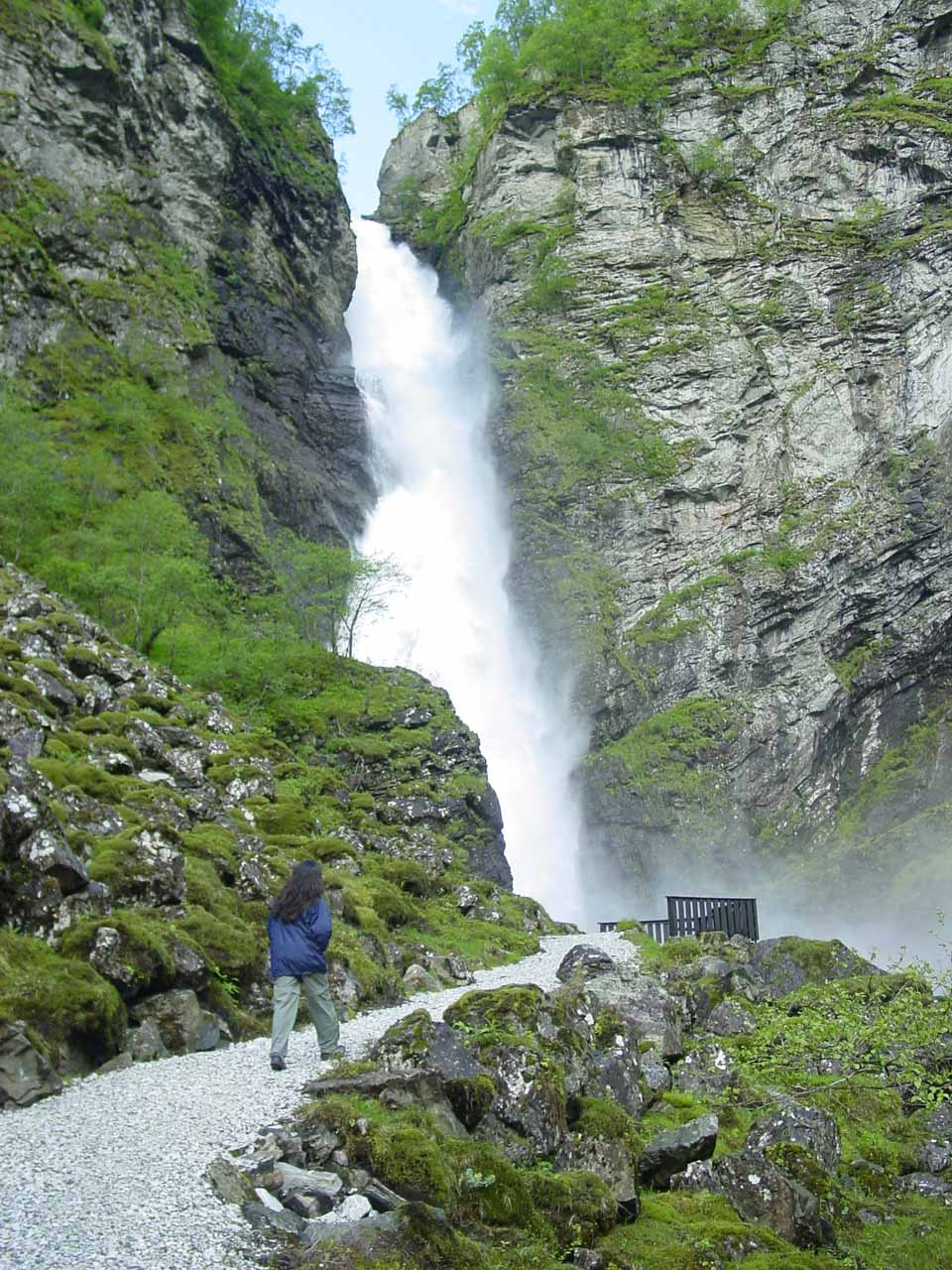 Julie approaching the end of the walk and the base of Stalheimsfossen