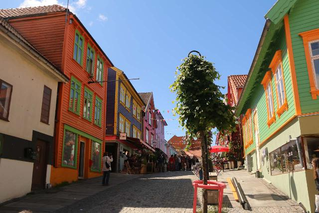 Stavanger_079_06212019 - Månafossen was not far from the city of Stavanger, which not only served as a convenient base for Kjerag and Preikestolen, but it also had charm like this row of colorful buildings along Holmegata