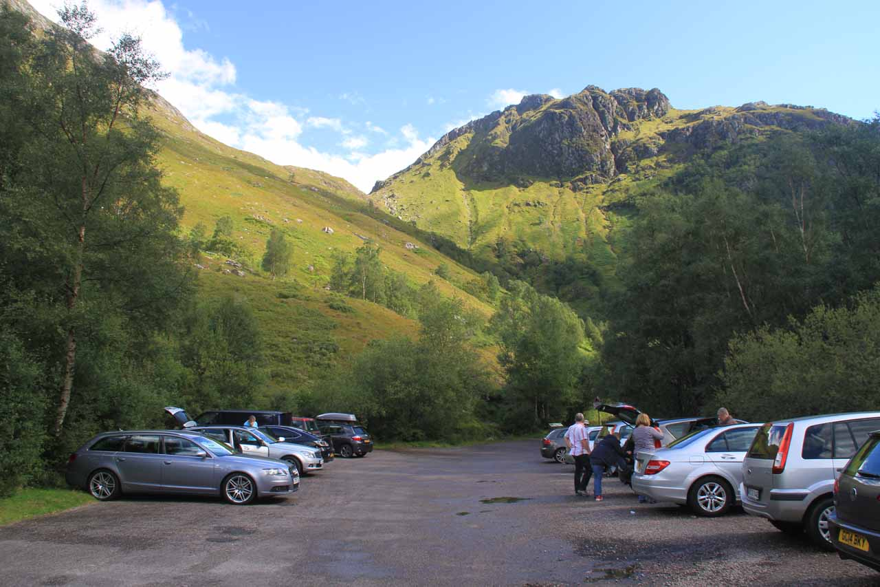 The car park at the end of the road at the very head of Glen Nevis near the Nevis Gorge