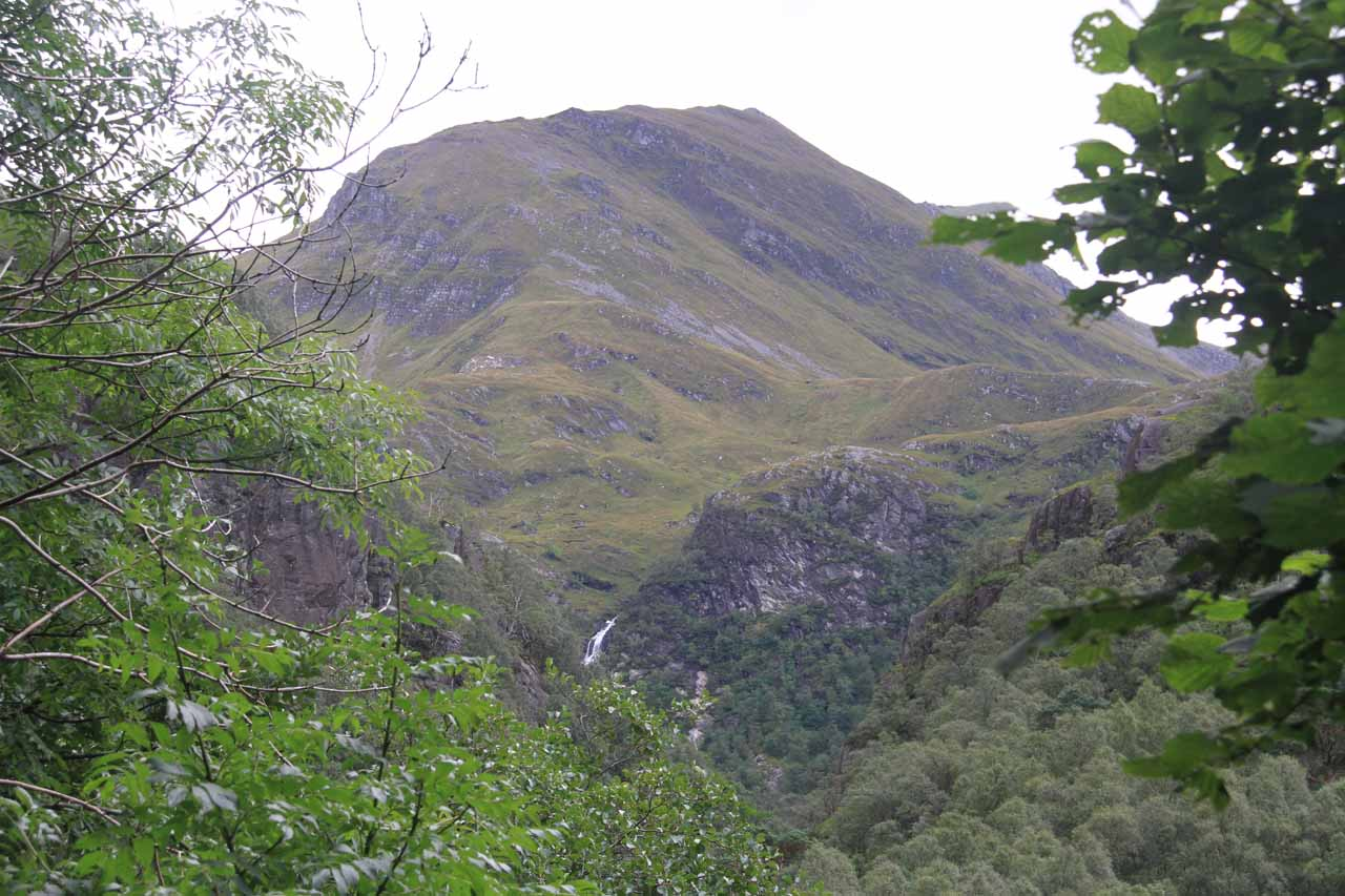 This was our first glimpse of Steall Falls as we were still headed up the Nevis Gorge