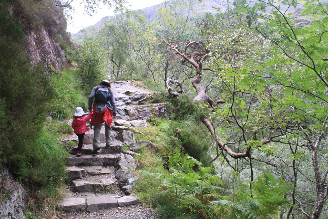 Julie and Tahia on the steep uphill trail as we passed through the narrow and rocky Nevis Gorge