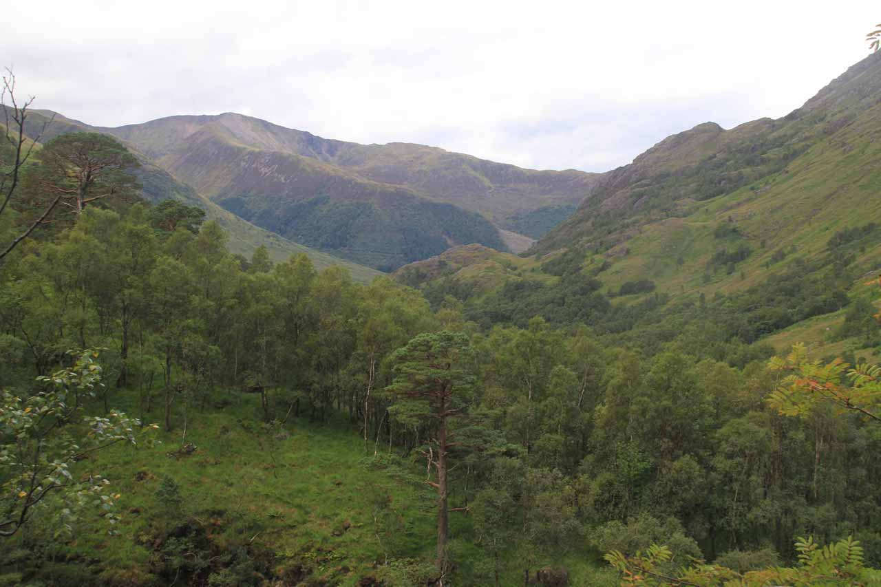 Around the half-way point of the climb, we were able to look back into Glen Nevis