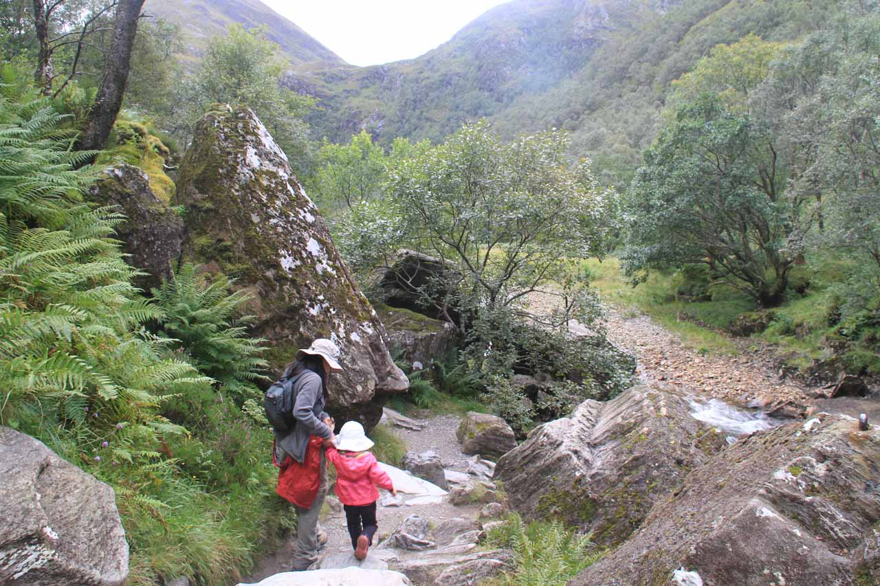 The last bit of rocky sections of the trail before entering the meadowed valley