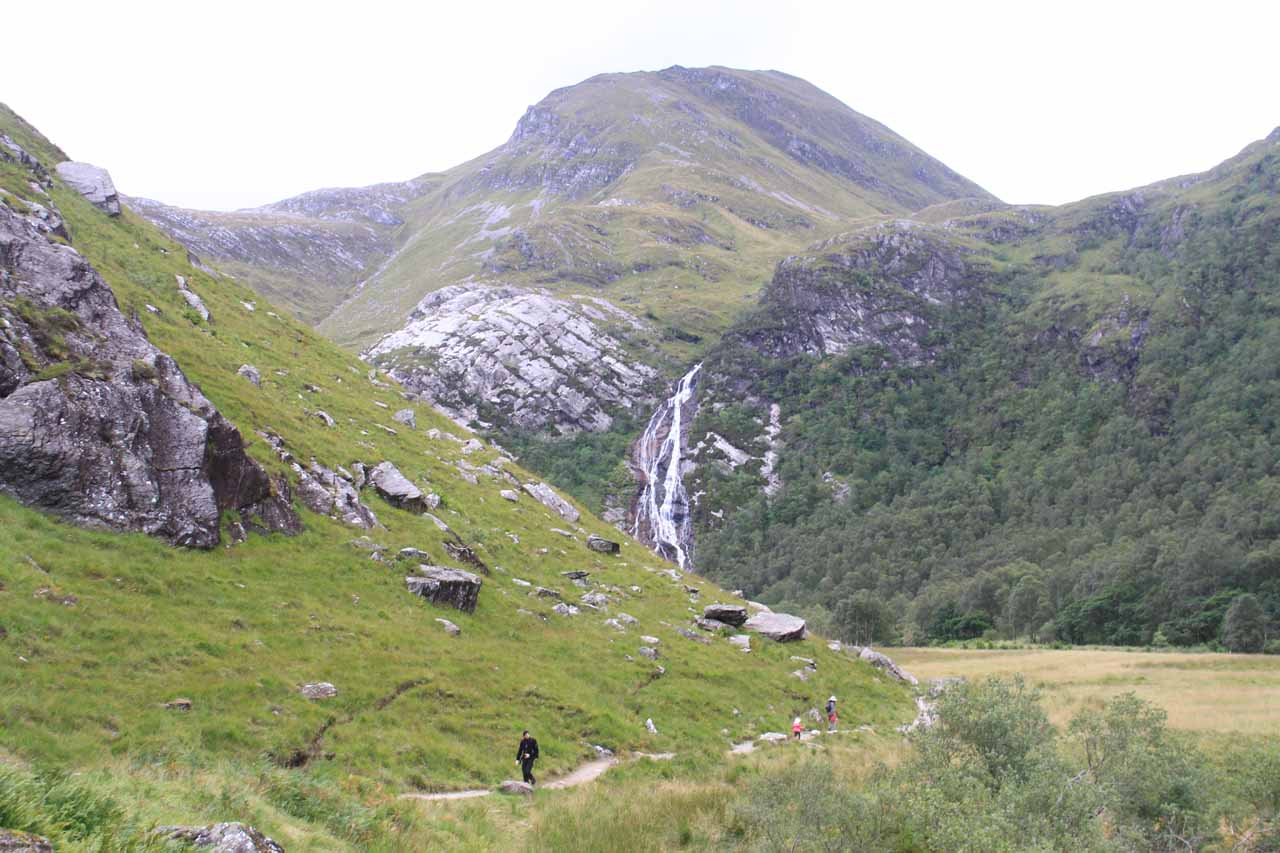 Continuing on in the wide open valley towards Steall Falls