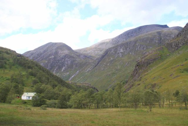 Steall_Falls_168_08282014 - As I was near the base of Steall Falls, I took a look back and wasn't sure if that tall mountain on the topright was Ben Nevis - Britain's tallest