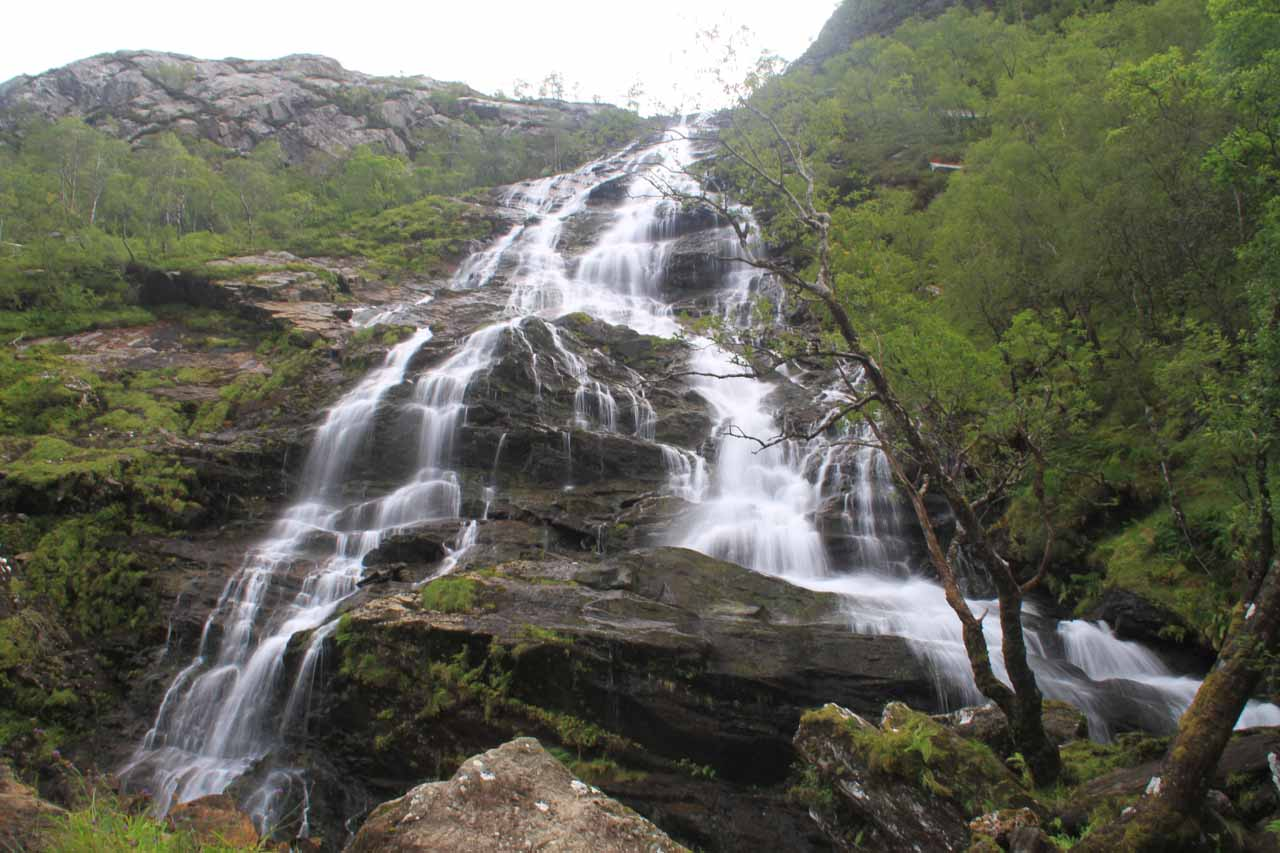 Looking up from the base of Steall Falls