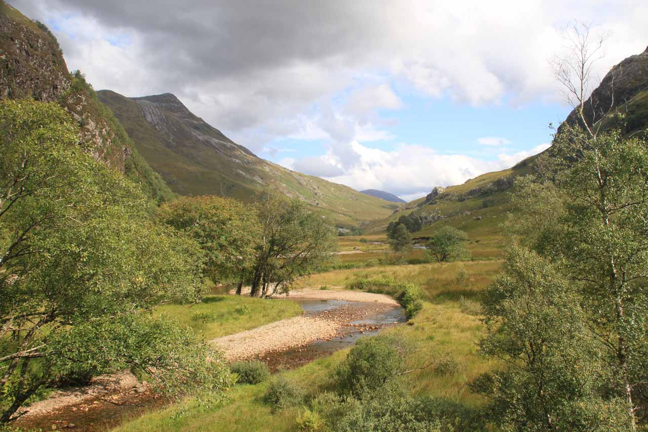 View towards the far eastern side of the valley from near the base of Steall Falls