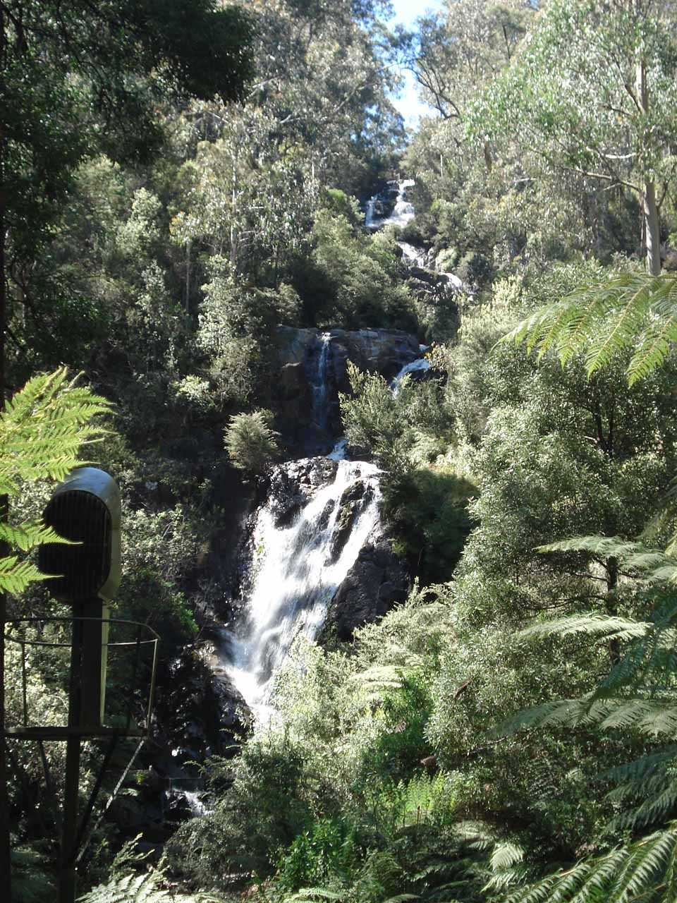 This was about as much of Steavenson Falls that we could see from the tracks here, but notice the floodlight on the lower left