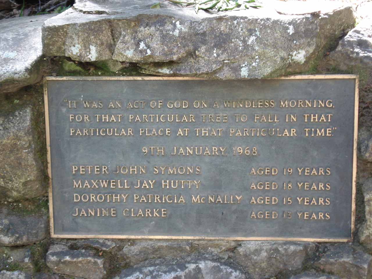 Plaque commemorating the death of four youngsters at Steavenson Falls from a fallen tree