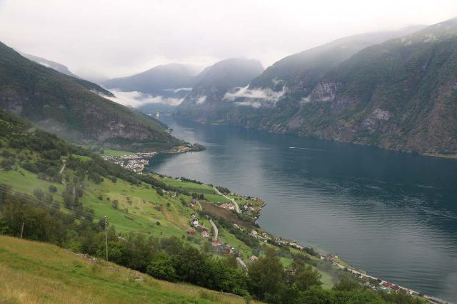 Looking down over Aurlandsfjord towards Aurland and Flåm while making our way up to the Stegastein Lookout