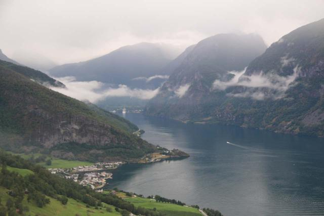 Stegastein_112_07232019 - On the way up to the Stegastein lookout, we went high enough to peer over the Aurlandsfjord in the direction of Flåm