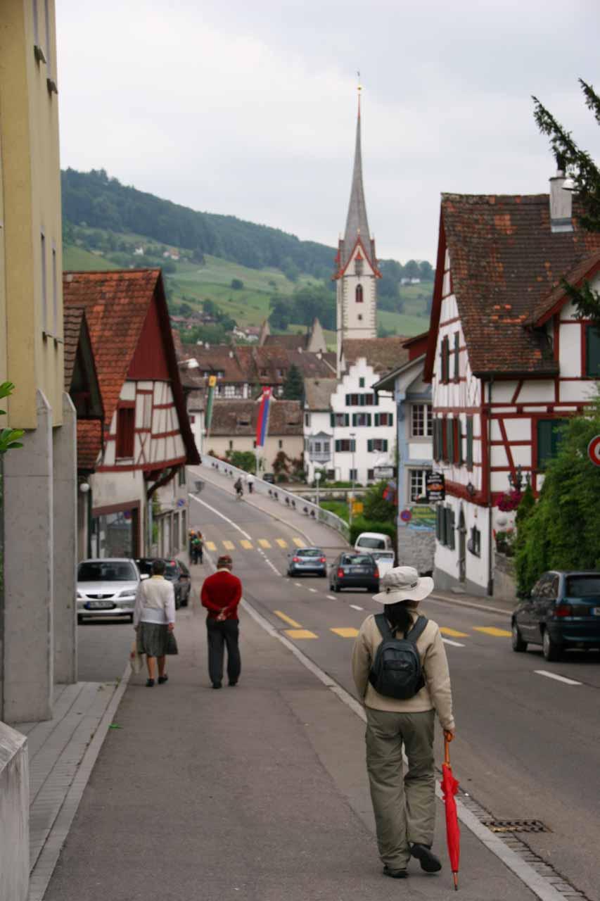 Approaching the charming part of Stein am Rhein