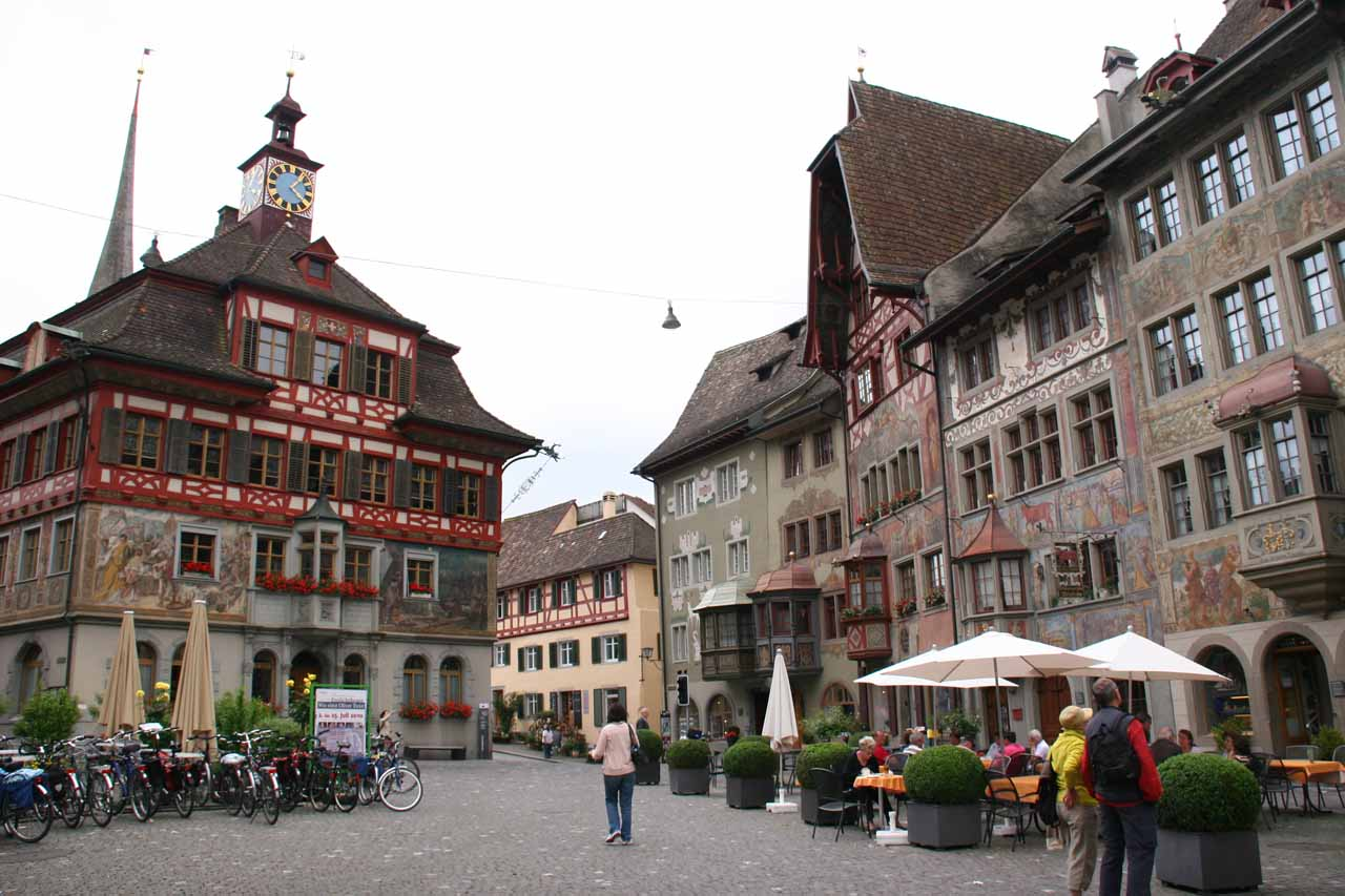 After we visited Rhine Falls, we took a train ride to the east of Neuhausen about 30 minutes to Stein am Rhein, which had to have been one of the most charming little towns we'd ever seen