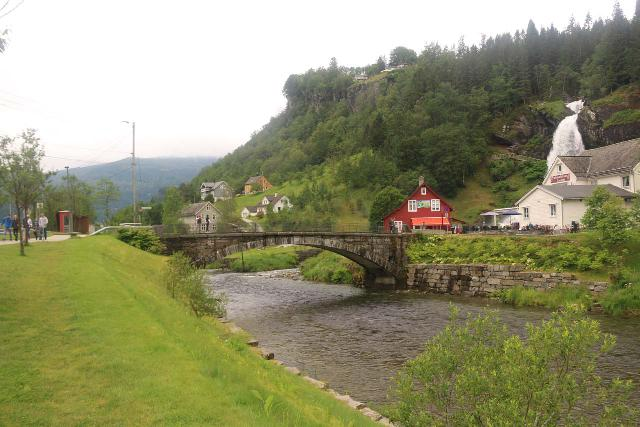 Steindalsfossen_002_06262019 - Walking from the car park and visitor center towards the historical stone arch bridge and ultimately Steinsdalsfossen