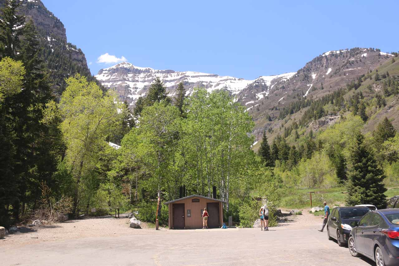 The trail started from right behind that restroom facility at the Mt Timpanogos Trailhead near Aspen Grove