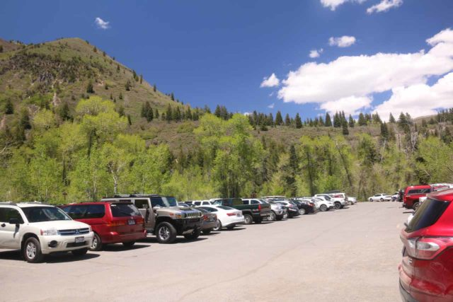 Stewart_Falls_003_05282017 - Looking back at the very busy Mt Timpanogos Trailhead parking lot