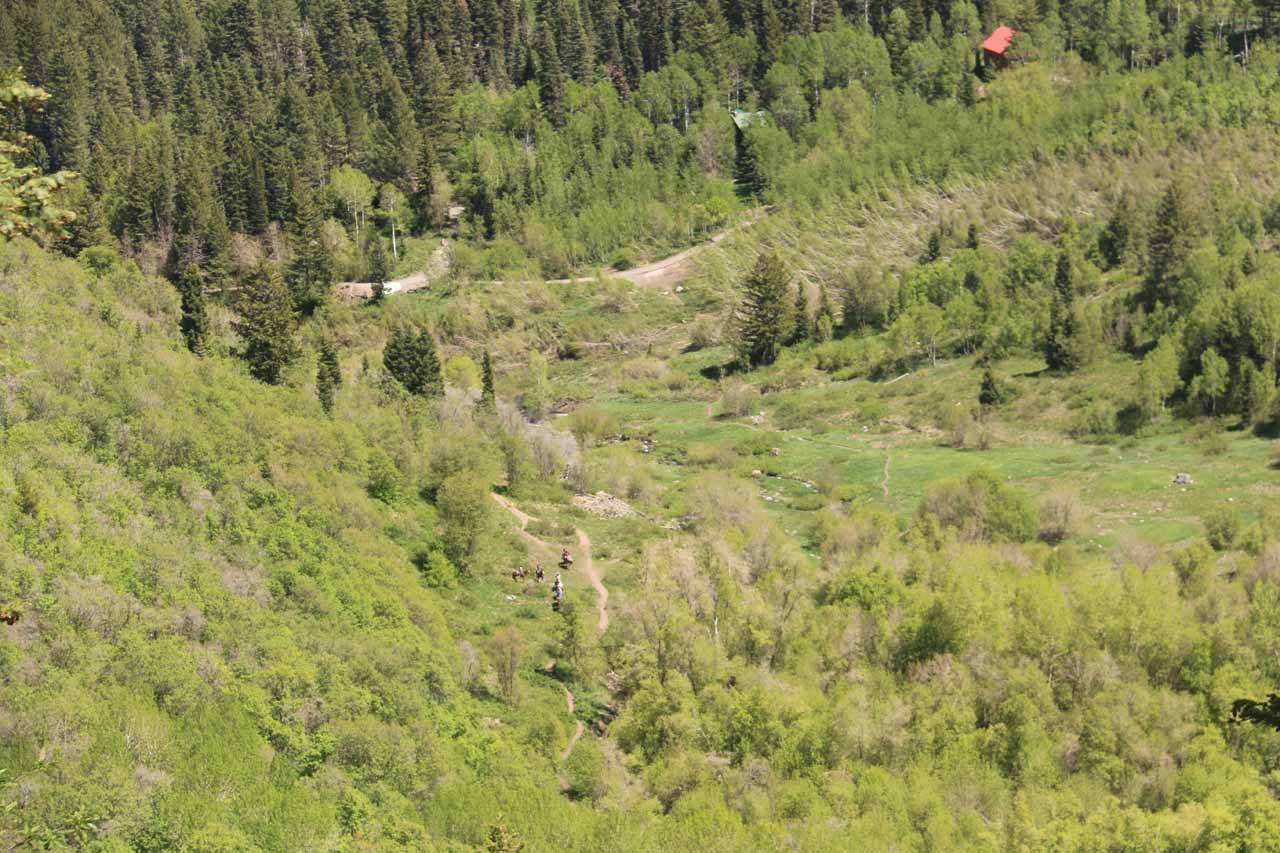 Looking down at some folks on the Sundance Resort route to Stewart Falls