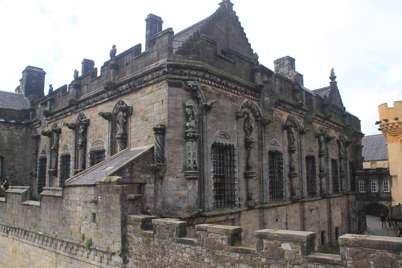 Roughly 59 miles south of Pitlochry was Stirling, which was famous for the Stirling Castle; shown here is a view of the intricate exterior of the palace