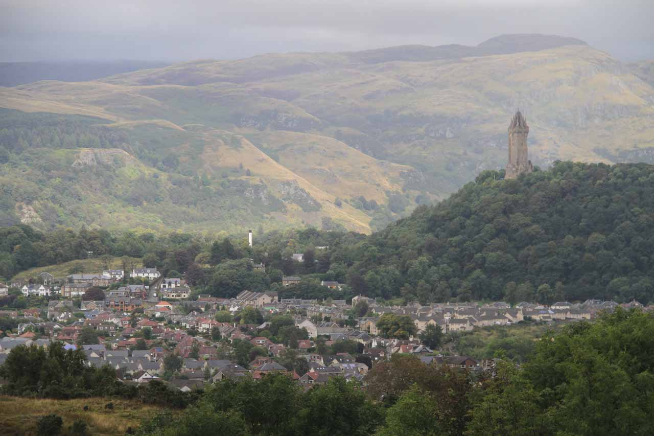 Roughly 46 miles south of Aberfeldy was Stirling, which was famous for the Stirling Castle; shown here is a view from the castle towards the William 'Braveheart' Wallace Memorial