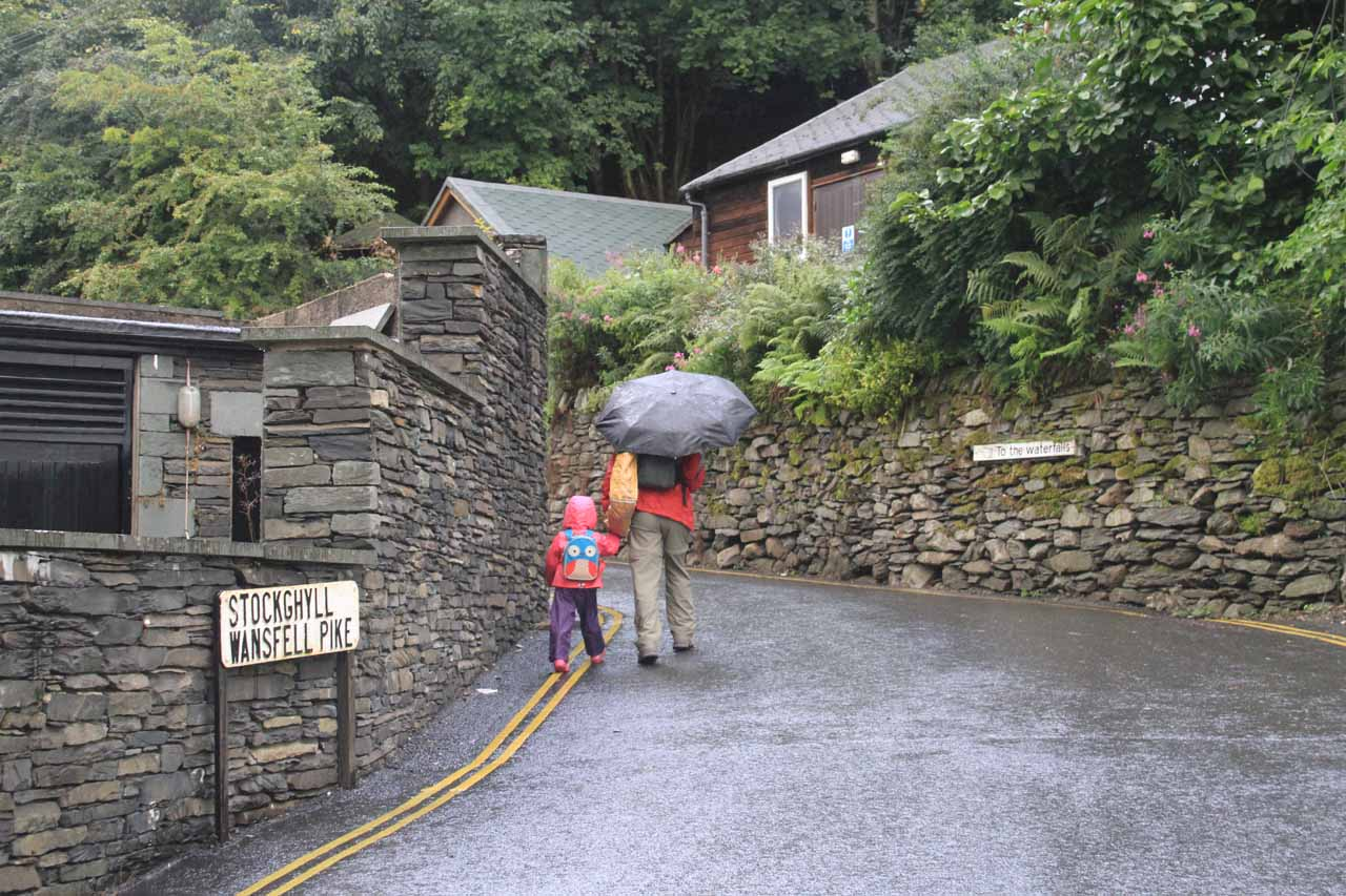 Julie and Tahia walking up the road leading us closer to Stock Ghyll Force