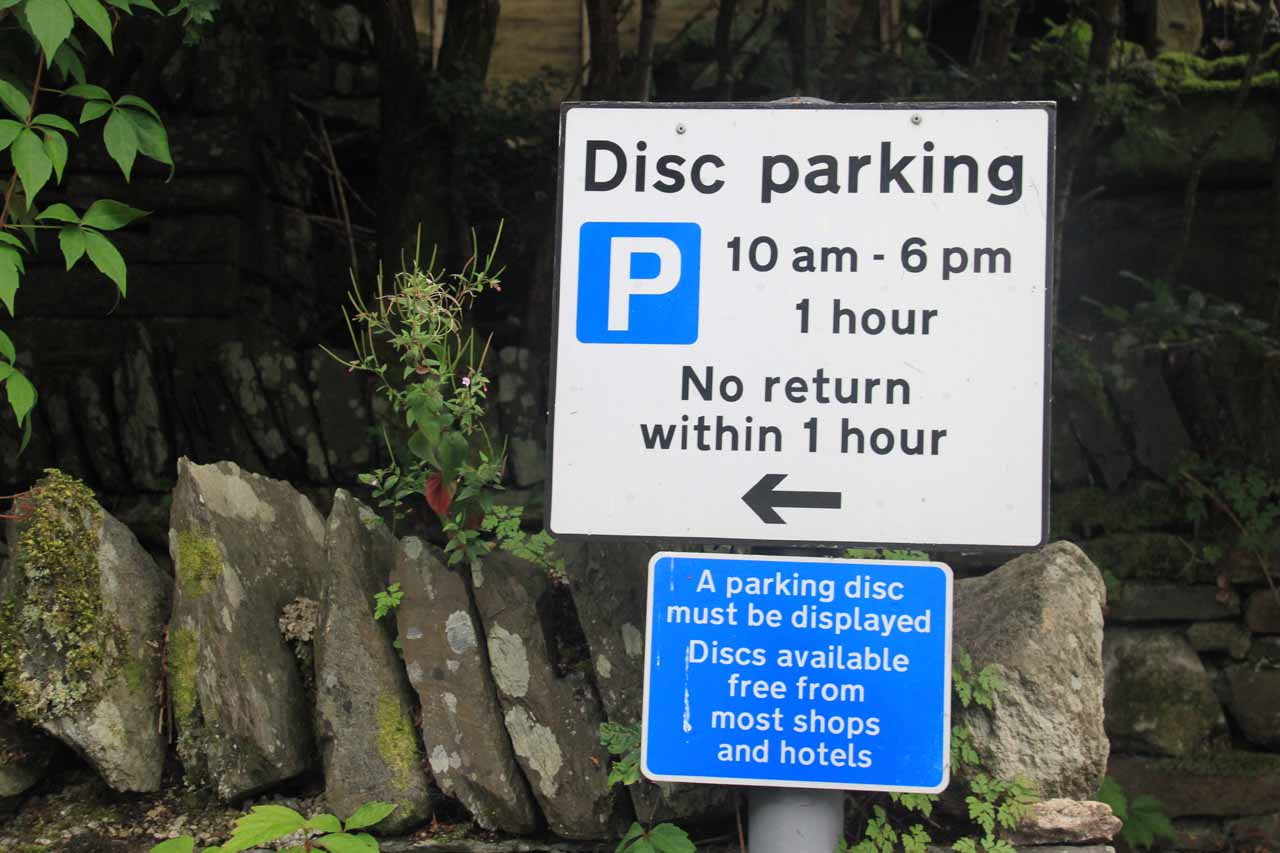The parking spaces along Stock Ghyll Lane all were near signs like this saying those spots were designated for Disc parking