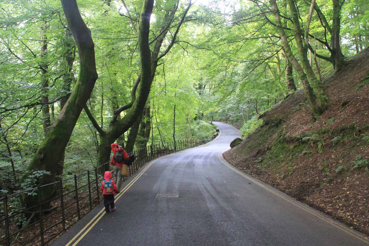 Julie and Tahia walking on the road towards the Stock Ghyll Force Trail