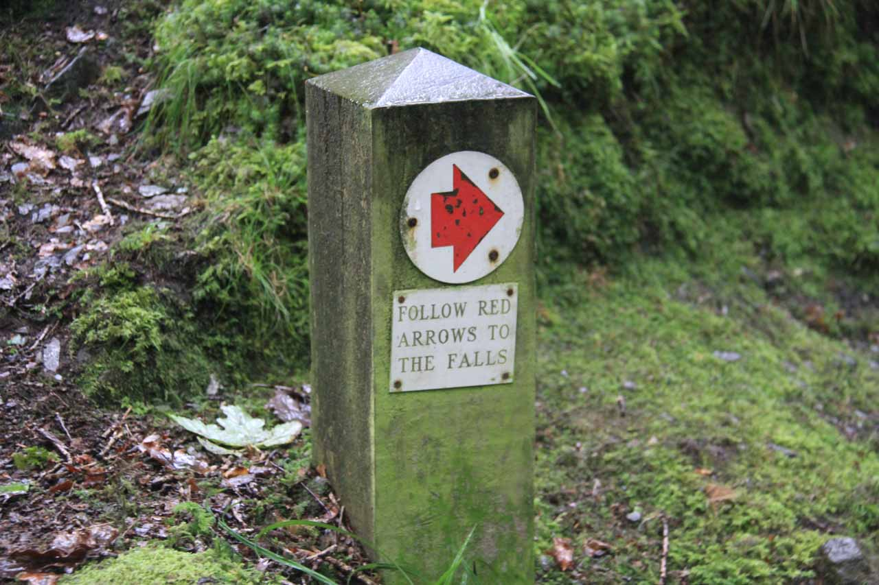 These were the signs and red arrows we were to follow to keep on heading towards the Stock Ghyll Force