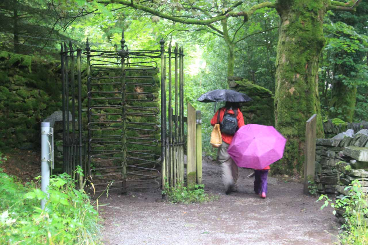 Julie and Tahia passing by the turnstile leading us back to Stock Ghyll Lane