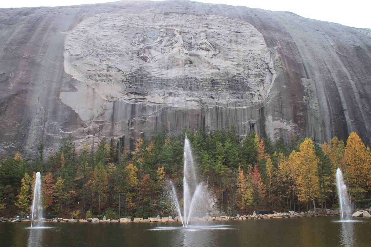 Just east of Atlanta (about 2 hours drive to the south of Anna Ruby Falls) is Stone Mountain, which featured Confederate leaders etched into the granite as shown here