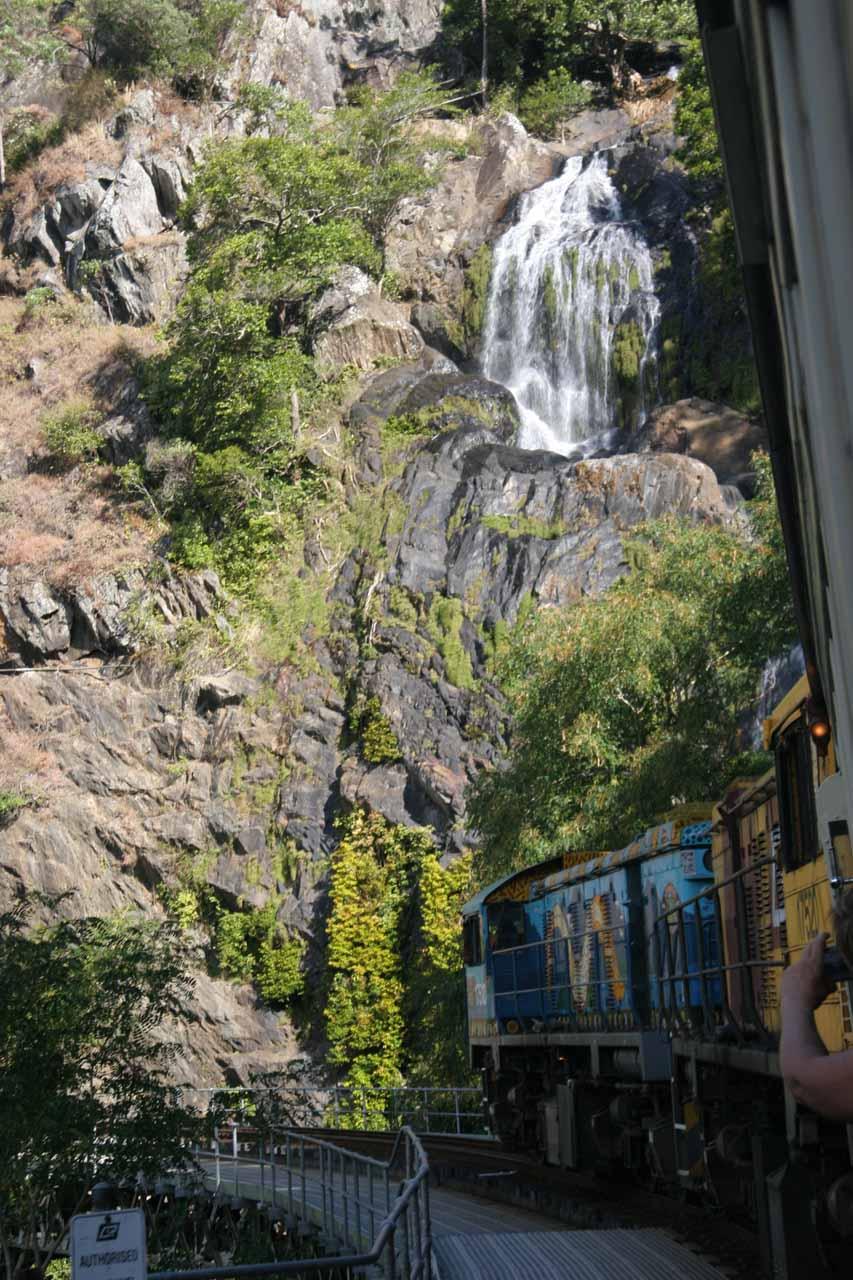 Looking ahead at our Kuranda Scenic Railway train passing before Stoney Creek Falls