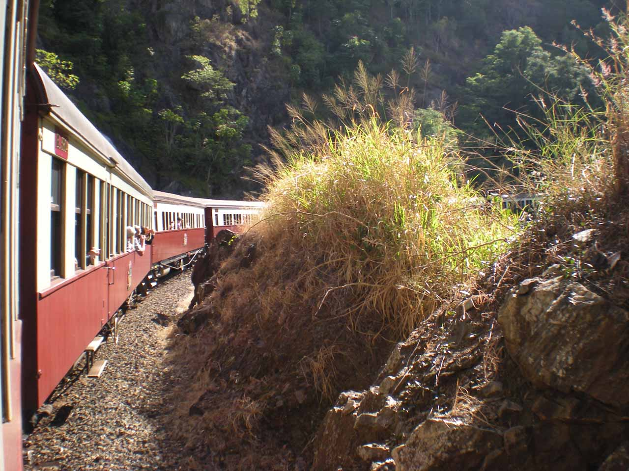 Looking back at the Kuranda Scenic Railway as the track was curling around a bend