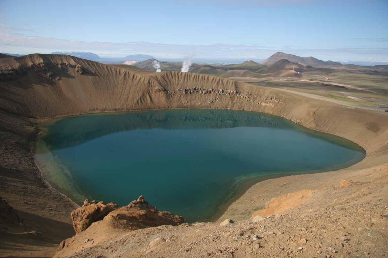 Near Mývatn is the geothermal Krafla area, where we found this beautiful crater lake called Stora Viti