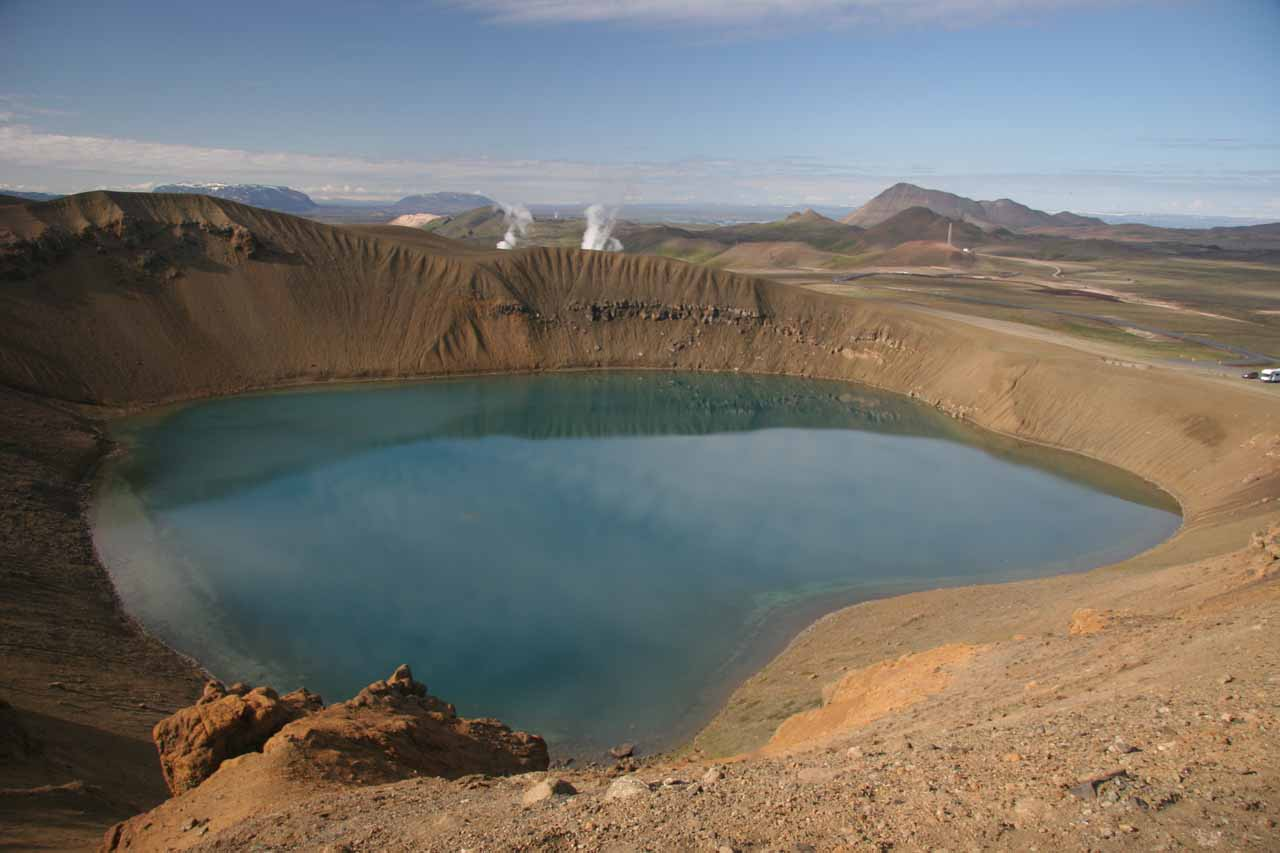 Near Mývatn is the geothermal Krafla area, where we found this beautiful crater lake called Stora Viti