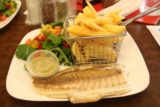 Strahan_17_001_11282017 - Grilled fish and chips with salad, which was the cleanest thing we could find at Molly's, which was more of a fish and chips kind of place