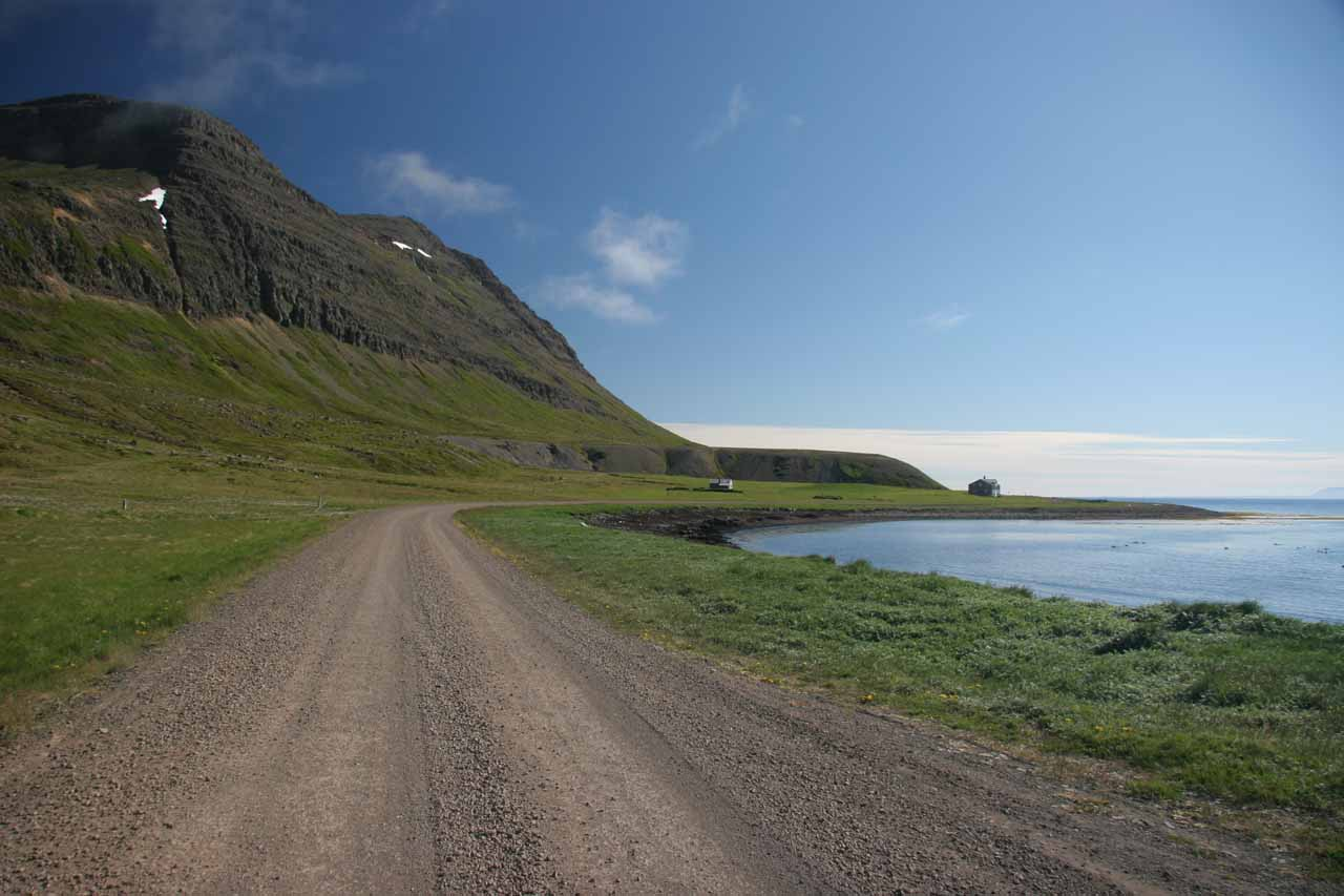 This was the unpaved route 643 along the beautiful Strandir Coast, which we had to take in order to reach the loneliest hotel in Europe at Djupavik