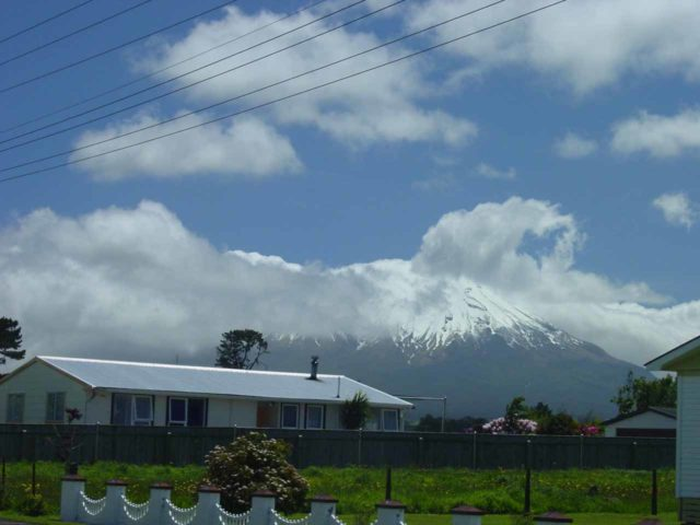 Stratford_002_11172004 - In our first visit to Dawson Falls in November 2004, we drove from Stratford directly to the falls, where we got these partial views of the snow-capped Mt Taranaki along Opunake Rd