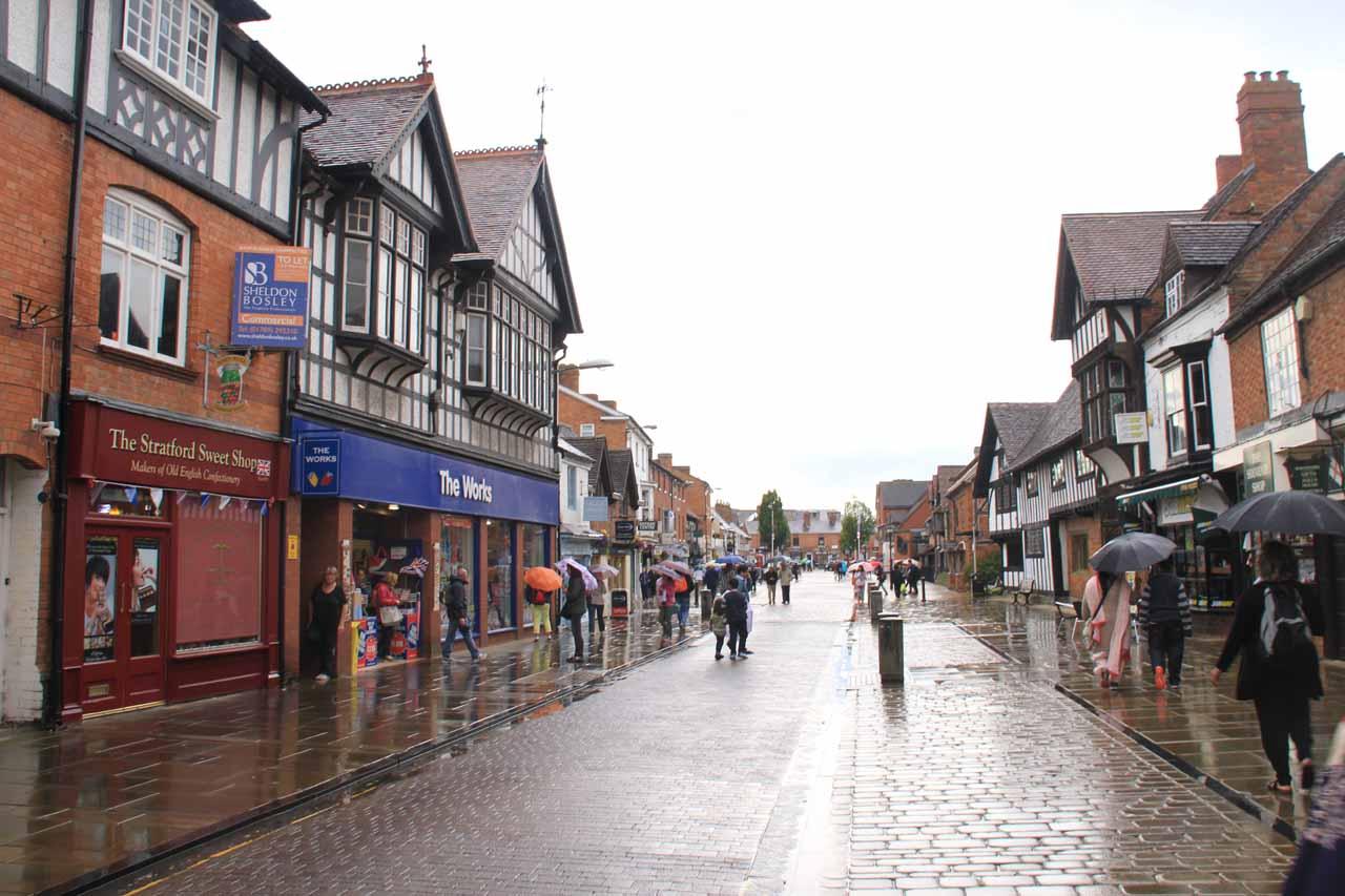 The wet pedestrian throughfare of Stratford upon Avon